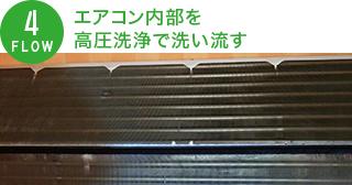 エアコン内部を高圧洗浄で洗い流す